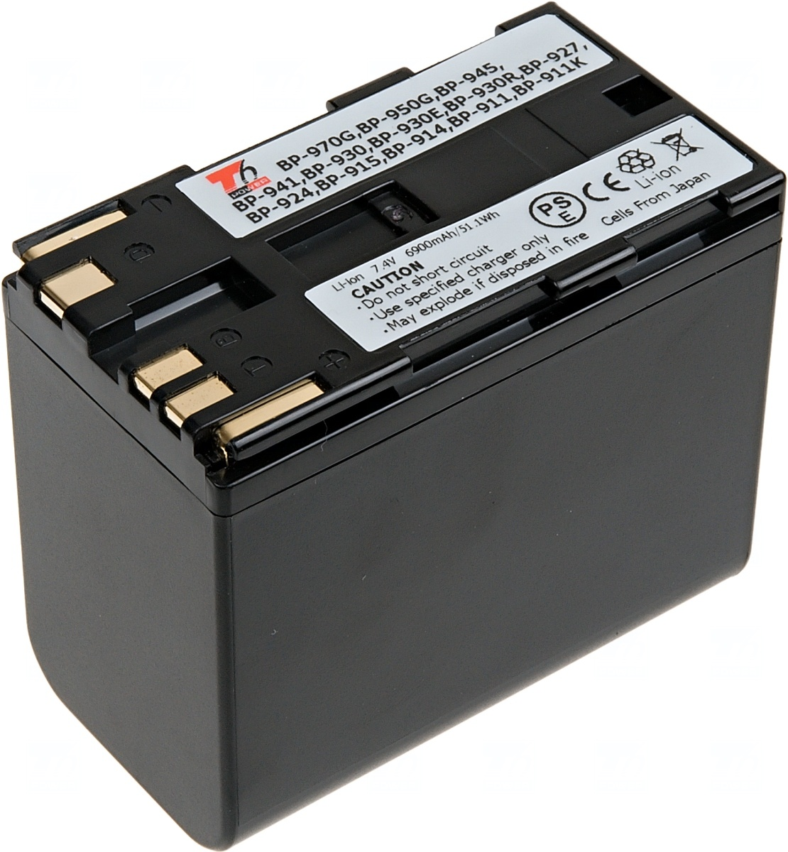 Baterie T6 power Canon BP-911, BP-914, BP-945, BP-970, 6900mAh, černá