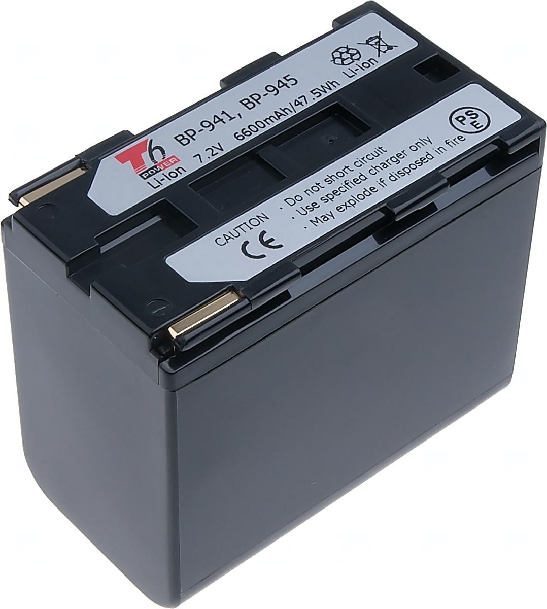 Baterie T6 power Canon BP-941, BP-945, 6900mAh, černá