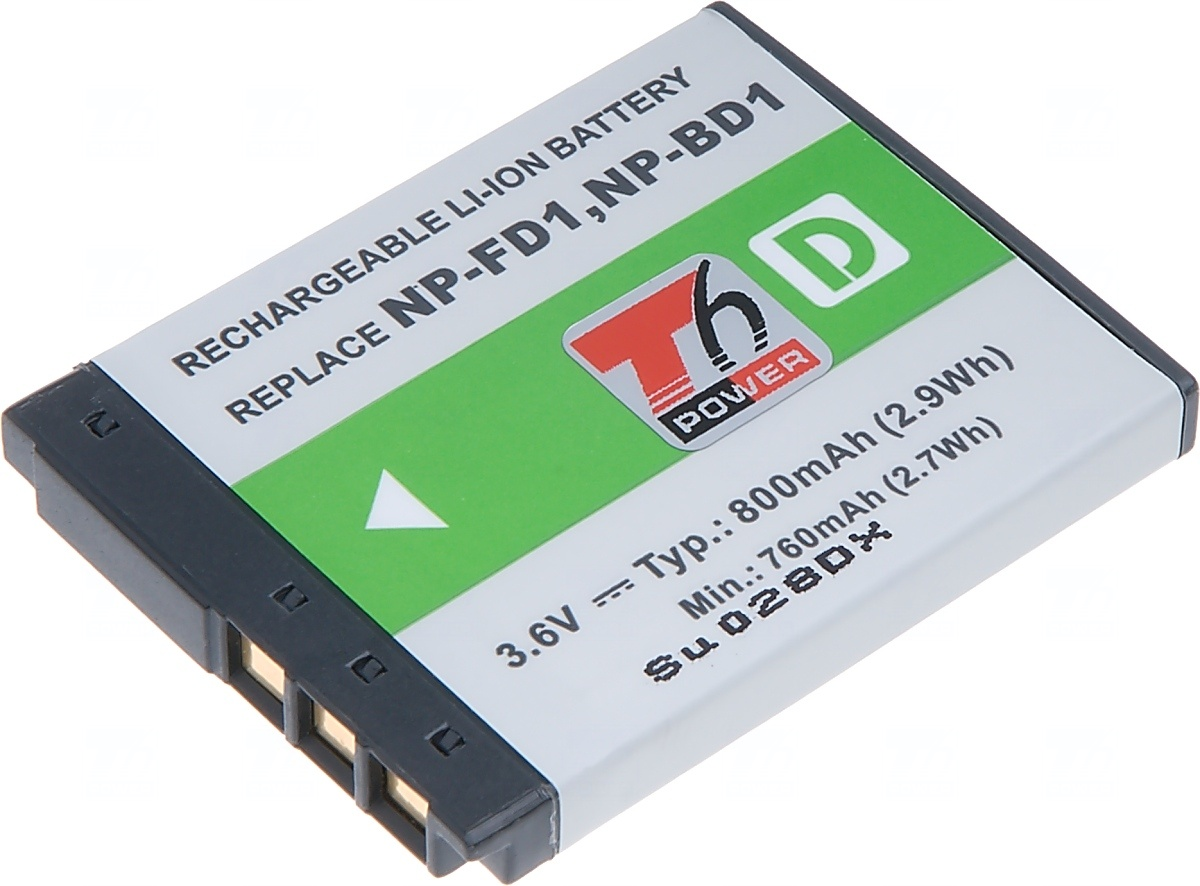 Baterie T6 power Sony NP-BD1, 800mAh, šedá