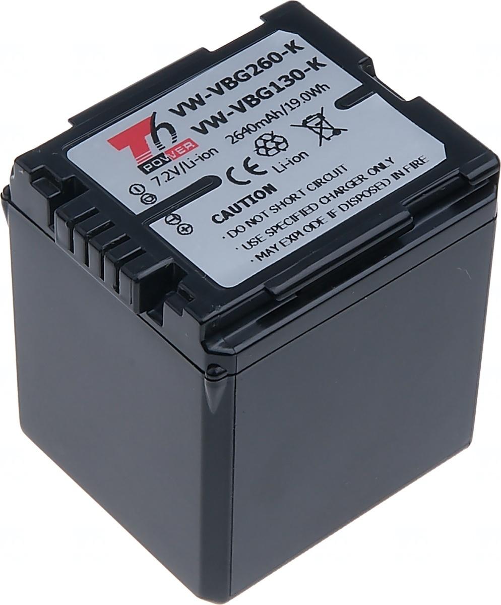Baterie T6 power Panasonic VW-VBG260, 2640mAh, černá