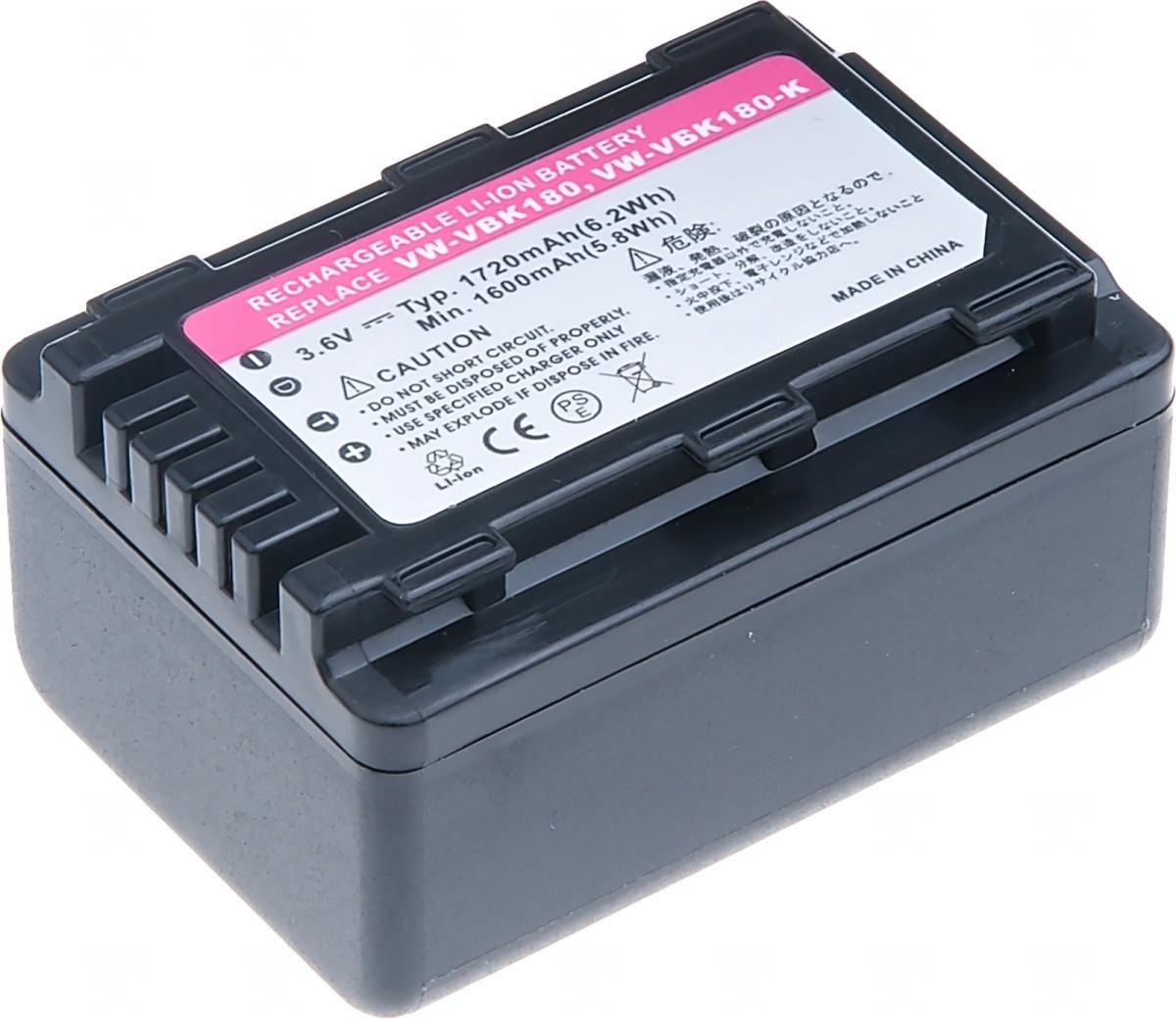 Baterie T6 power Panasonic VW-VBK180, 1720mAh, černá