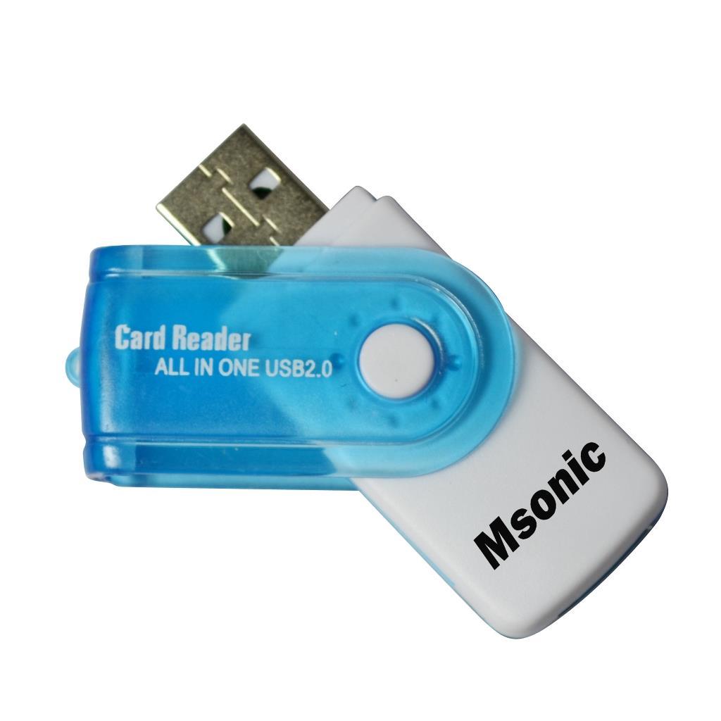 MSONIC čtečka paměťových karet SDHC/microSDHC (SD)/TF/MS/M2 USB 2.0 bílá