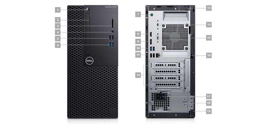 DELL OptiPlex MT 3070/Core i5-9500/8GB/256GB SSD/Intel UHD 630/DVD-RW/W10P/3Yr NBD