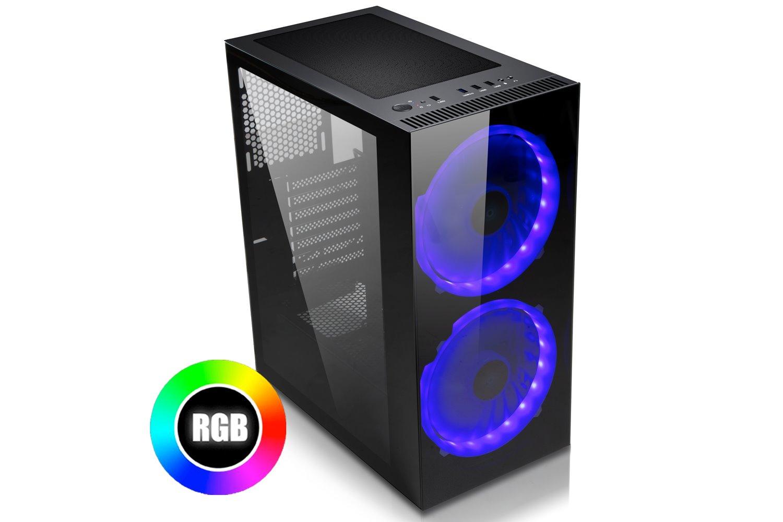 EVOLVEO Ptero Q20, case ATX, 2x USB2.0 / 1x USB3.0 1x HD Audio, 2x 200mm RGB, prosklené bočnice, černý