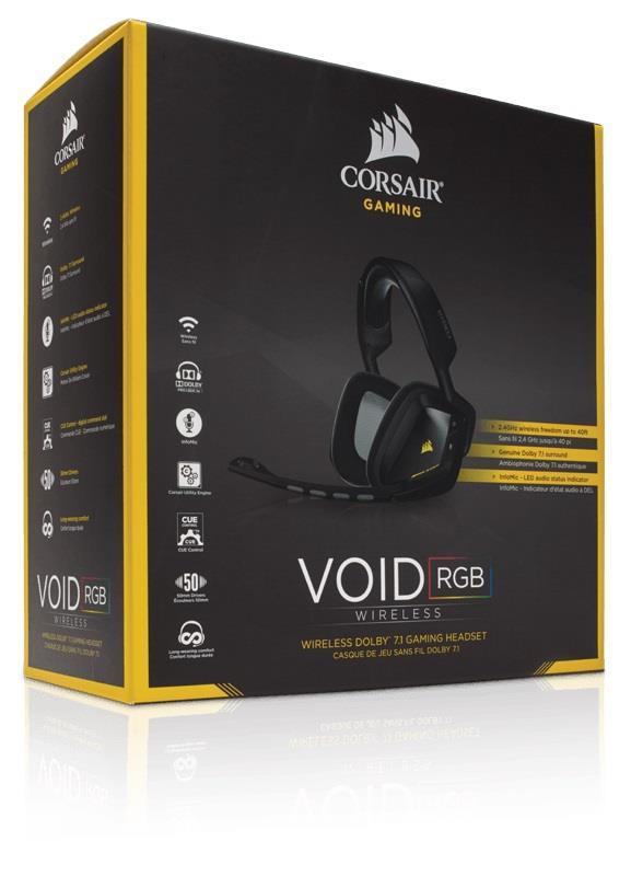 Corsair VOID bezdrátová herní sluchátka 7.1, RGB podsvícení, černá