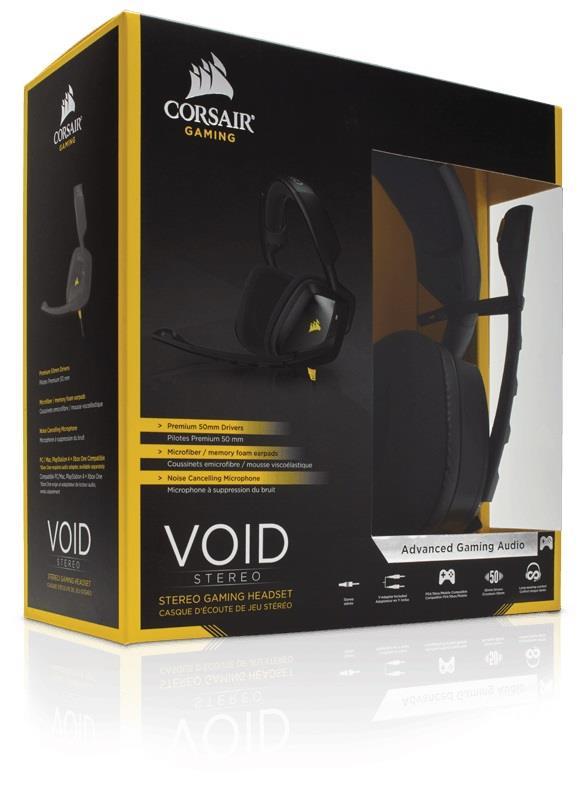 Corsair VOID herní stereo sluchátka, PC/Mac/PlayStation4/XboxOne - černá