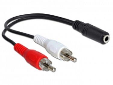 Kabel 2 x RCA samec > 1 x 3 pin 3.5 mm Stereo jack 0.20 m