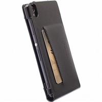 Krusell kožené pouzdro KALMAR WALLETCASE pro Sony Xperia M4 Aqua/M4 Aqua Dual, černá