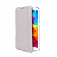 """Puro stojánkové pouzdro ZETA SLIM """"ICE"""", průsvitná záda, pro Galaxy Tab4 7"""" (T230), perleťově bílá"""
