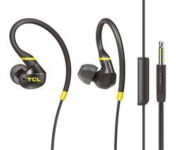TCL sportovní sluchátka do uší, drátová, mikrofon, IPX4, 10-22K Hz, 100 dB, Repro: 8,6mm, 16 Ohm, černá