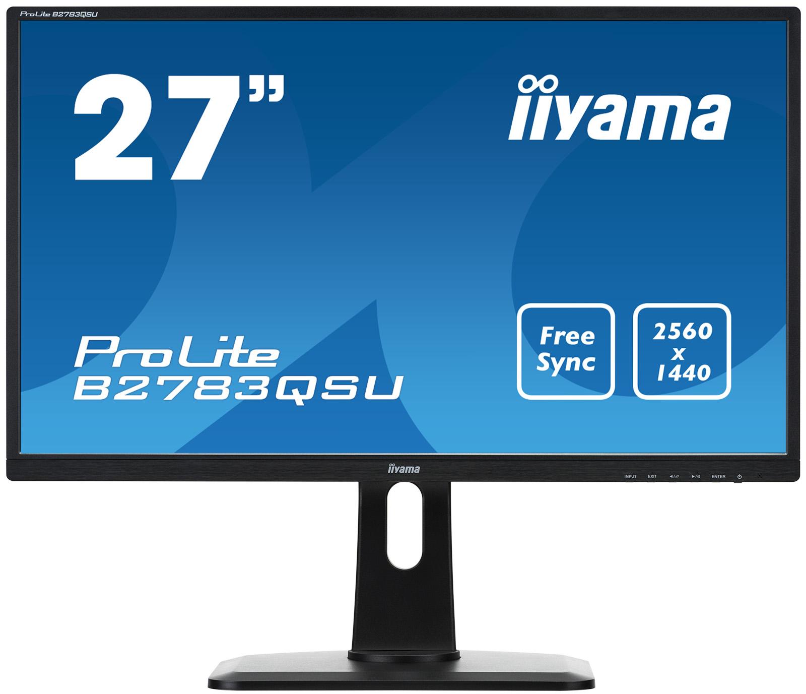 "27"" LCD iiyama B2783QSU-B1 -1ms,2560x1440,350cd,12M:1 ACR,DVI-D,HDMI,DP,USB,repro,pivot,výšk.nastav."
