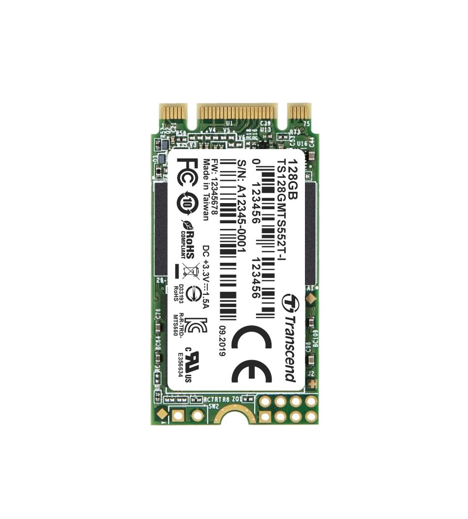 TRANSCEND MTS552T-I 128GB Industrial 3K P/E SSD disk M.2, 2242 SATA III 6Gb/s (3D TLC) B+M Key, 560MB/s R, 510MB/s W