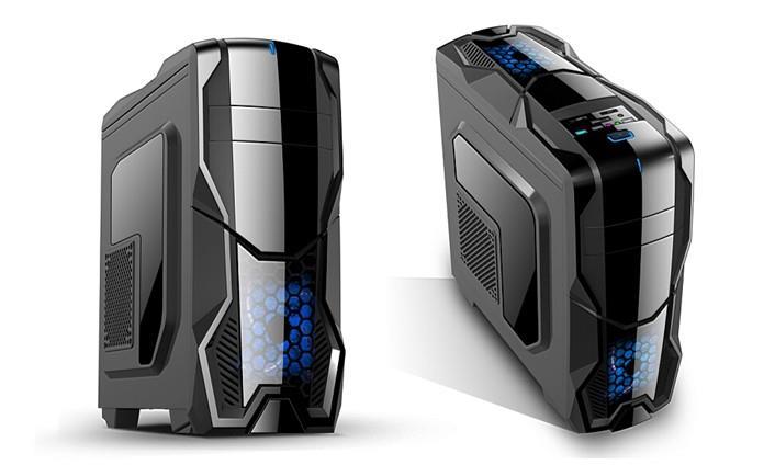 Gembird herní PC skříň Midi Tower Luna, USB 3.0, Audio, černá s bočním oknem