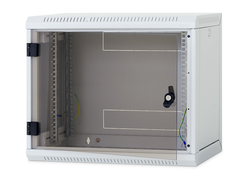 Nástěnný rack RUA 12U/400mm odn.boč+skl.dv.