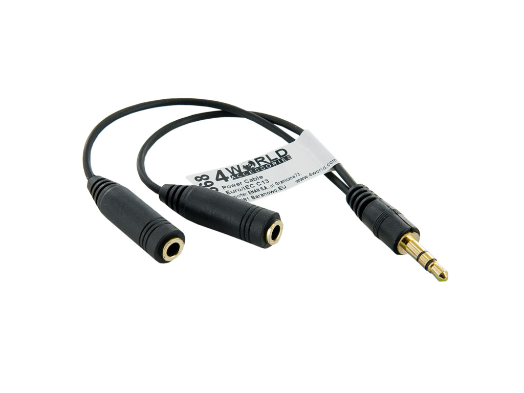 4World Adaptér audio 1x 3.5mm/2x 3.5mm Black