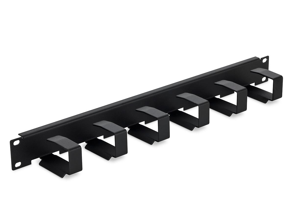 """19"""" vyvazovací panel 1U 6x háček 70x27mm black"""