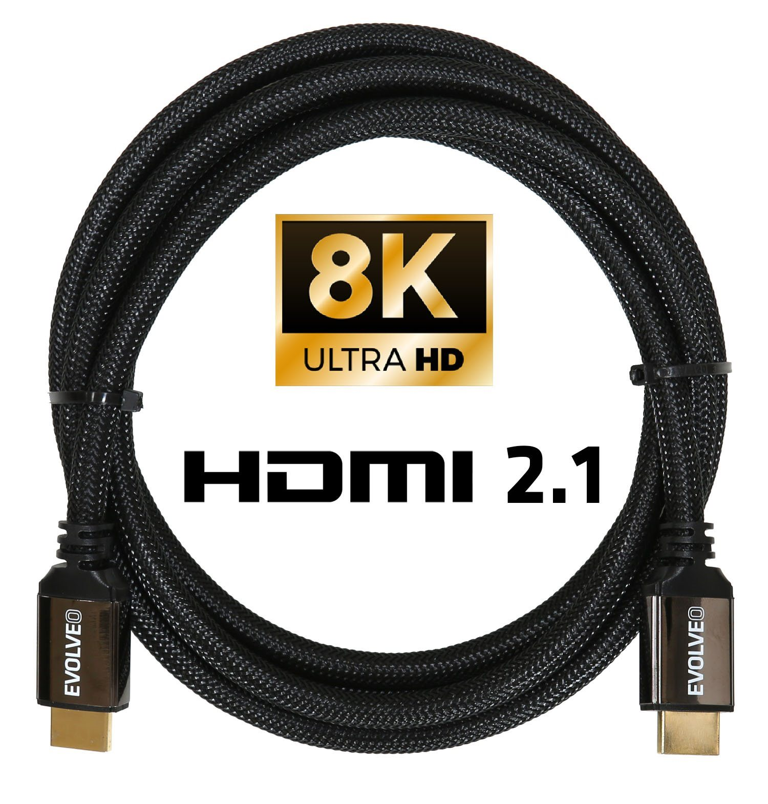 EVOLVEO XXtremeCord, kabel HDMI 2.1, 3m, podpora 8K ULTRA HD, 4K, 2K a FHD, 48Gbps
