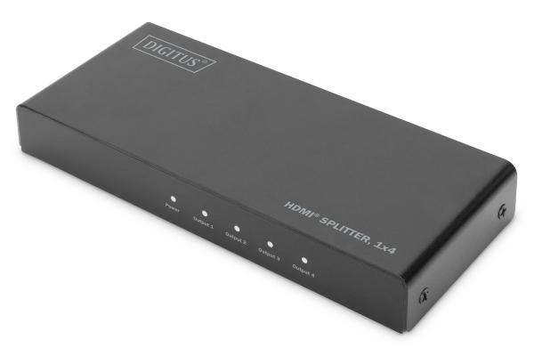 Digitus 4K HDMI Rozbočovač, 1x4, 4K2K, UHD / 60Hz EDID, HDR a downscaling na Full HD, HDCP, černá