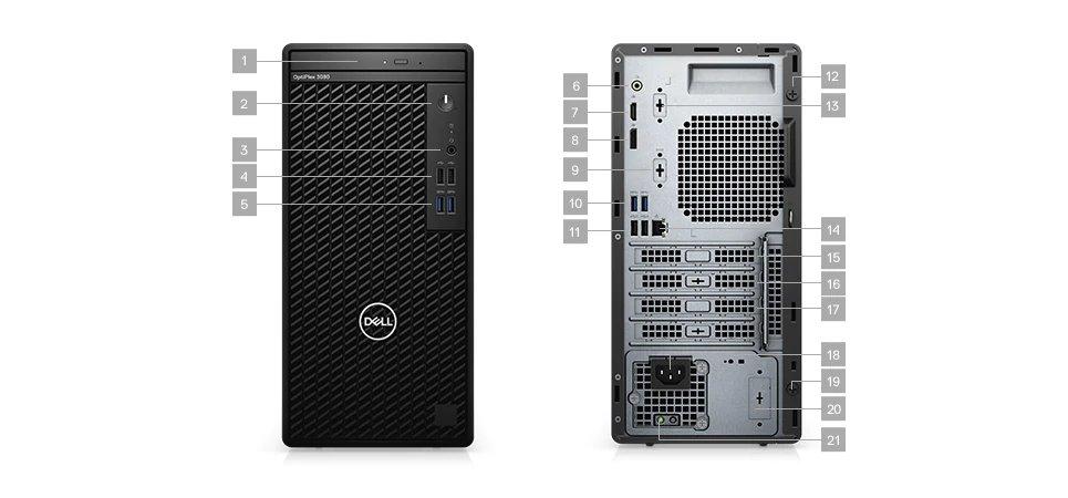 DELL OptiPlex MT 3080/Core i5-10500/8GB/512GB SSD/Intel UHD 630/DVD-RW/W10P/3Yr NBD