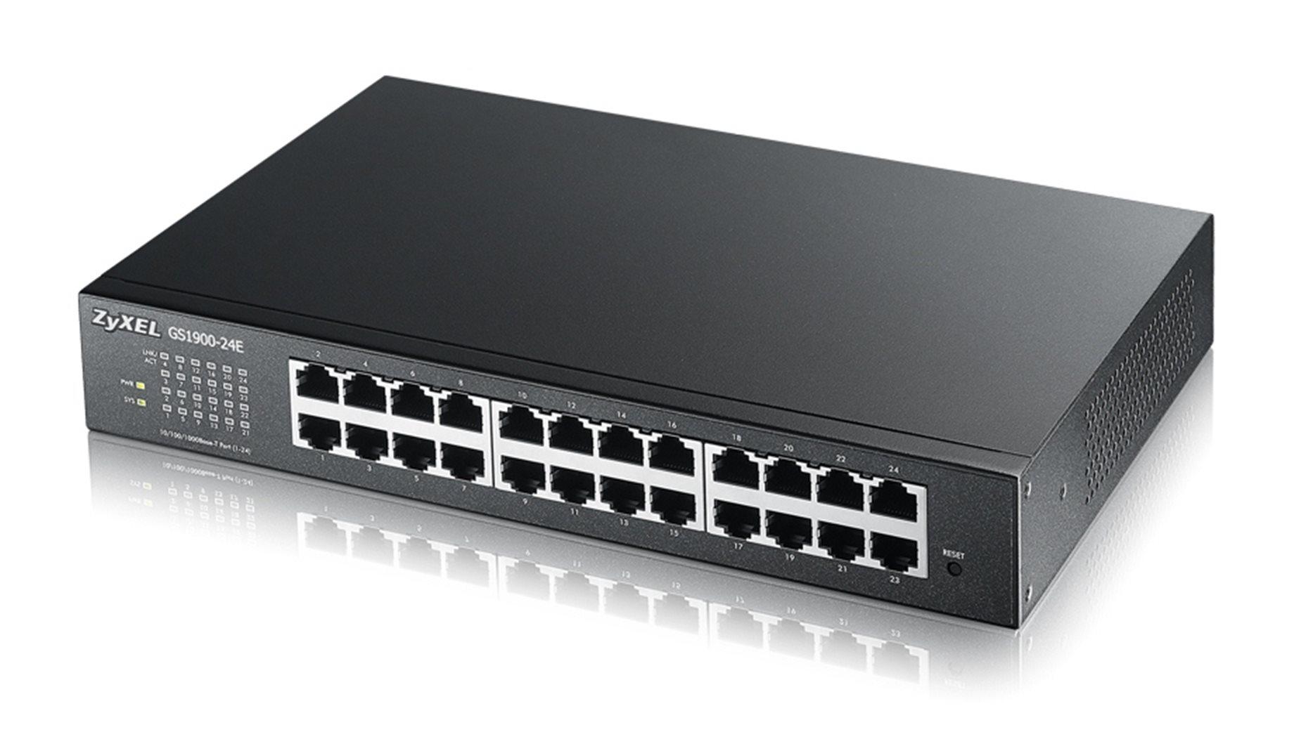 Zyxel GS1900-24Ev2, 24-port Desktop Gigabit Web Smart switch: 24x Gigabit metal, IPv6, 802.3az (Green)
