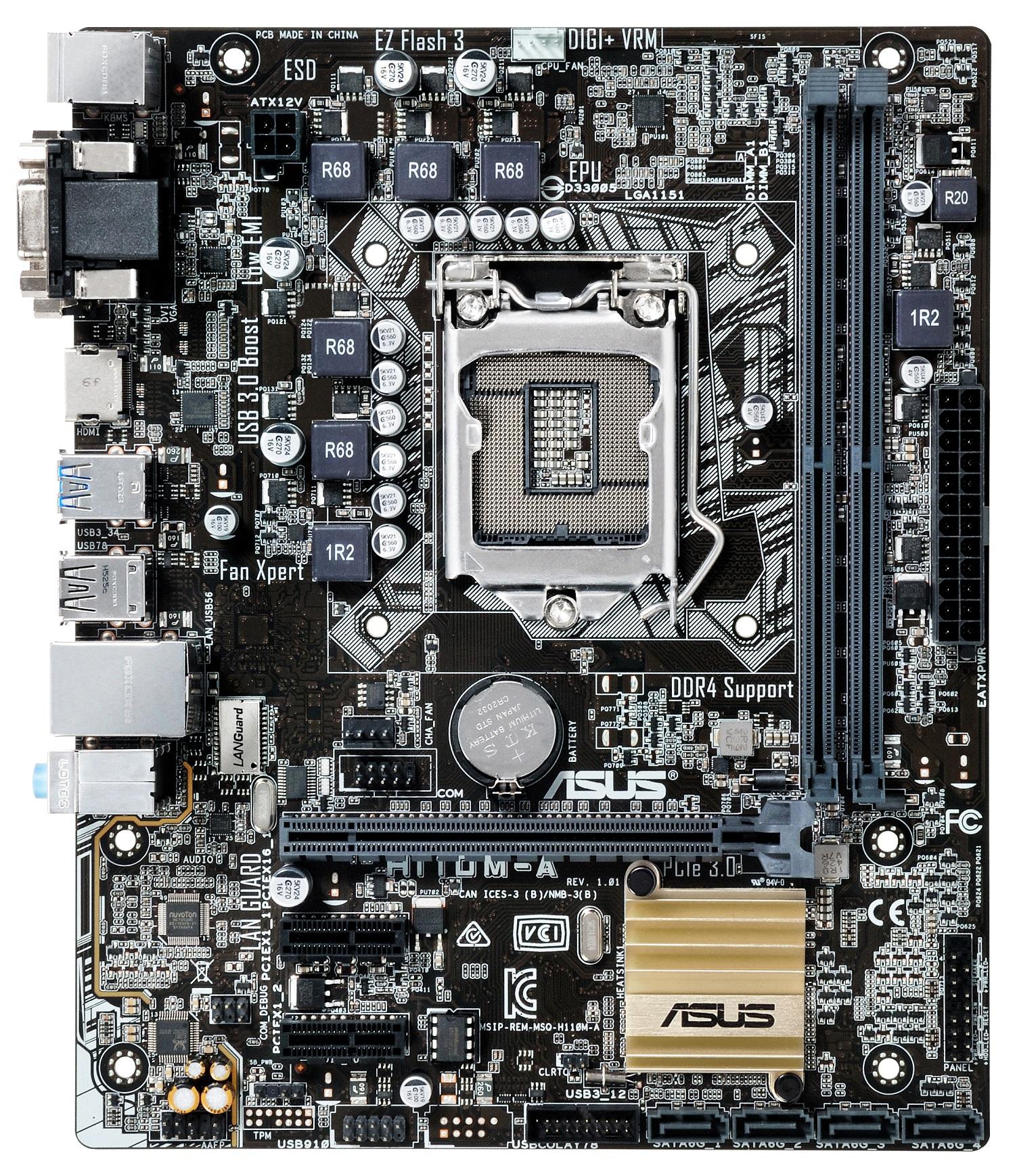 ASUS MB Sc LGA1151 H110M-A D3, Intel H110, 2xDDR3, VGA, mATX