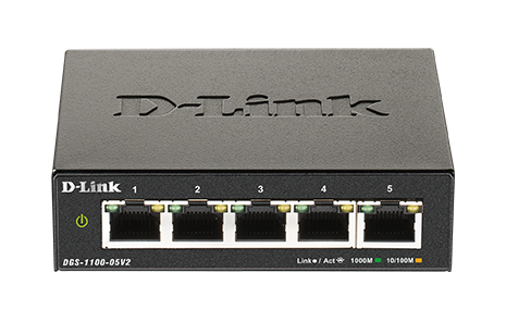 D-Link DGS-1100-05V2/E 5-Port Gigabit Smart Managed Switch- 5-Port 100BaseTX Auto-Negotiating 10/100/1000Mbps Switch