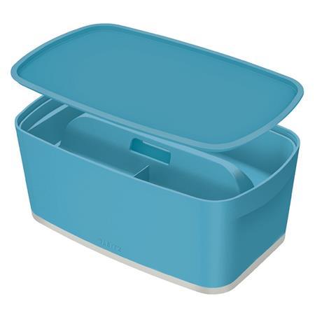 Úložný box s víkem Leitz MyBox Cosy + Organizér s držadlem, velikost S, klidná modrá