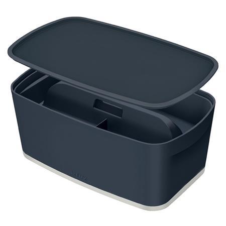 Úložný box s víkem Leitz MyBox Cosy + Organizér s držadlem, velikost S, sametová šedá