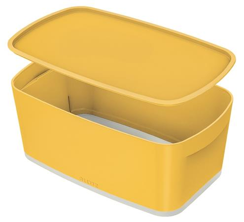 Úložný box s víkem Leitz MyBox Cosy, velikost S, teplá žlutá