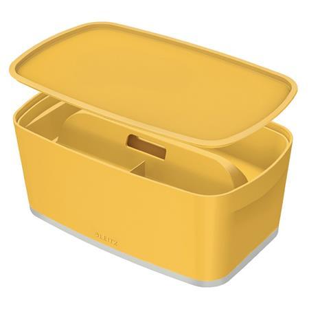 Úložný box s víkem Leitz MyBox Cosy + Organizér s držadlem, velikost S, teplá žlutá