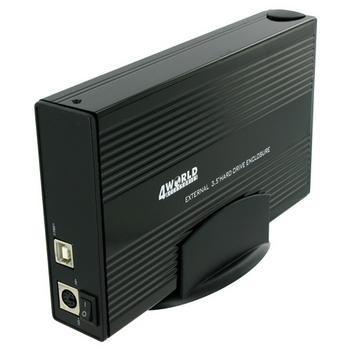 4World Hliníkové pouzdro na HDD 3.5'' Combo IDE/SATA na USB 2.0, barva černá