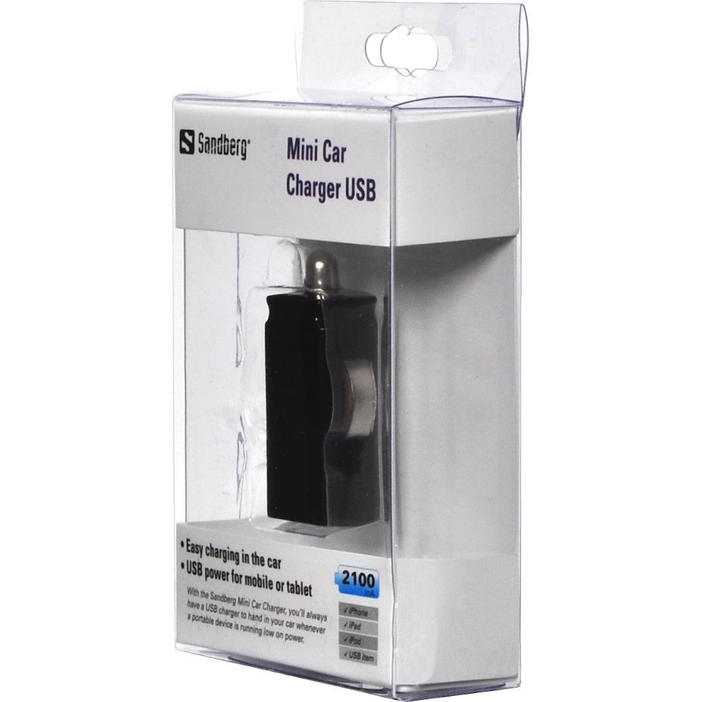 Sandberg Mini autonabíječka USB, 2100mA, černá