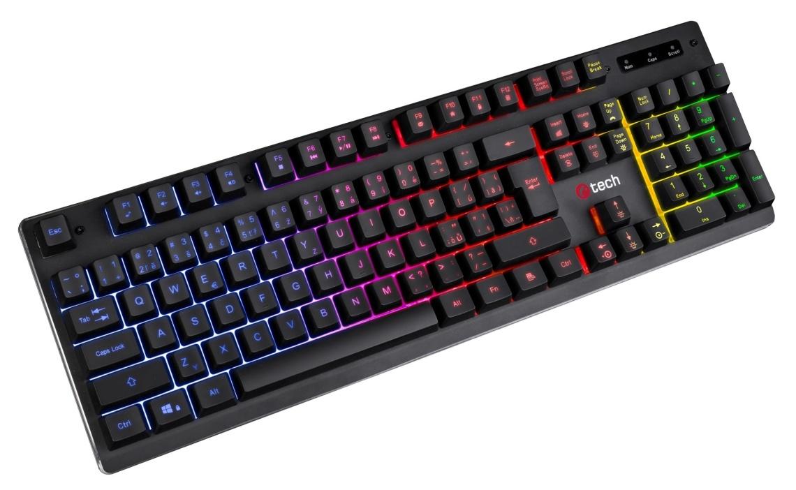 Polomechanická herní klávesnice C-TECH Iris (GKB-08), casual gaming, CZ/SK, duhové podsvícení, USB