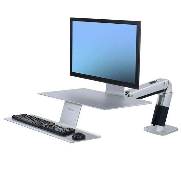 ERGOTRON WorkFit-A with Suspended Keyboard, Platinum, nastavitelná pracovní stanice, držák pro: monitor , kláv.+myš+odkl