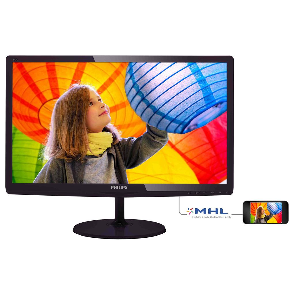 Philips Monitor LED 247E6QDAD 23.6'' Full HD, 5ms, IPS panel, VGA, DVI-D, HDMI