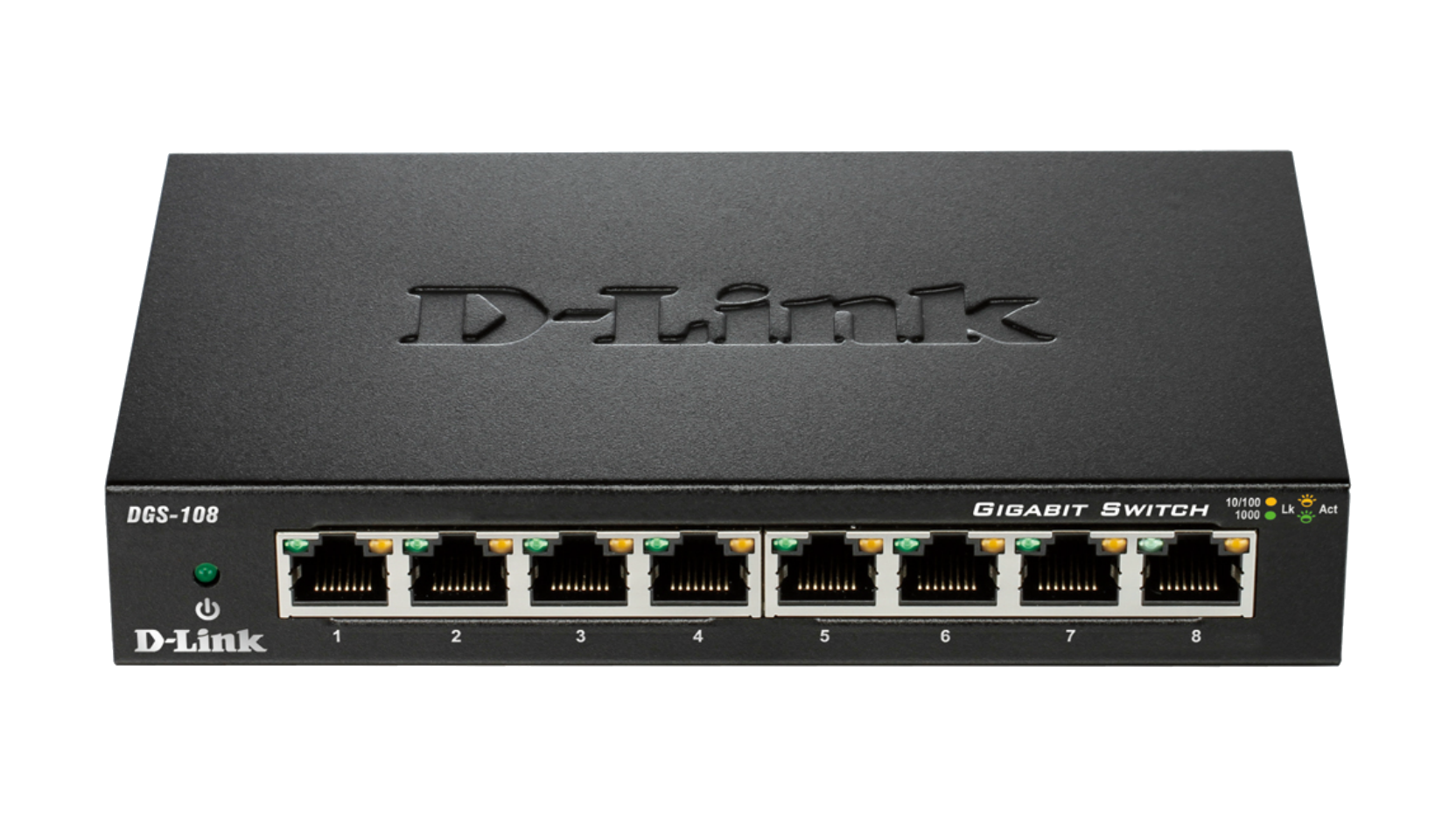 "D-Link DGS-108GL/E ""8-Port Gigabit Ethernet Metal Housing Unmanaged Light Switch without IGMP- 8-Port 10/100/1000 Mbps"