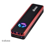 AKASA externí box Vegas SSD Mate, pro M.2 SATA/NVMe SSD, USB 3.2 Gen 2, 10Gb/s, RGB, hliník