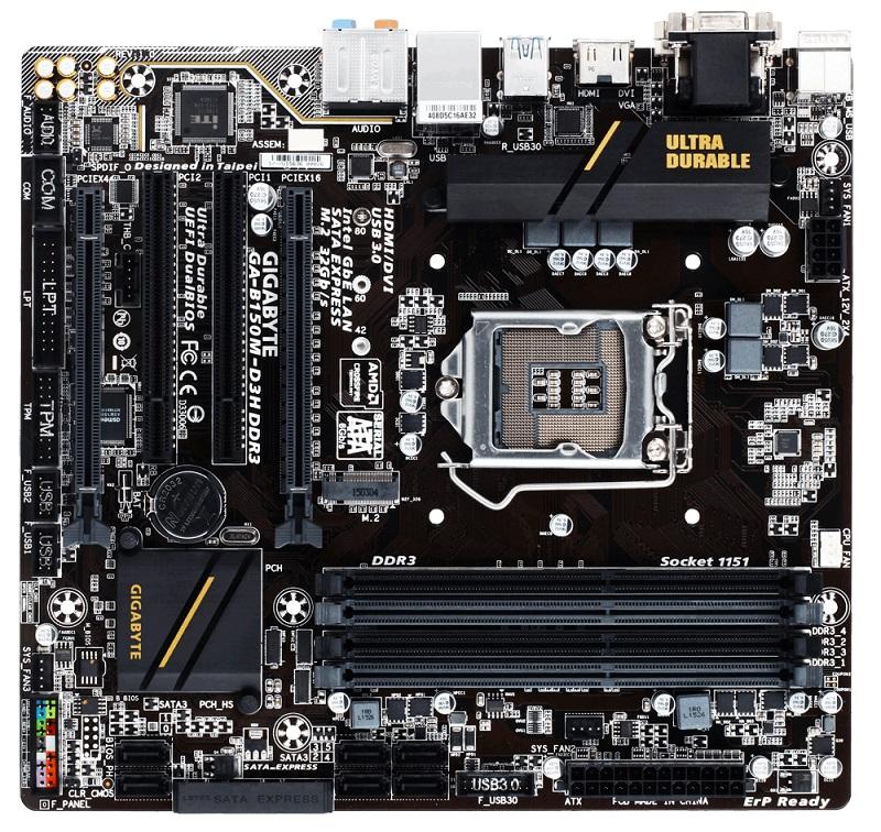Gigabyte GA-B150M-D3H DDR3, B150, DualDDR3-1600, SATA3, HDMI, DVI, D-Sub, mATX