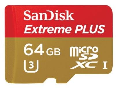 SanDisk microSDXC 64 GB Extreme Plus, 95MB/s, UHS-I, class 10/U3 + adaptér