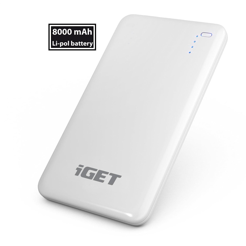 iGET B-8000 Power banka 8000 mAh, 2x USB, Li-pol, LED indikátor, tlačítko ON/OFF, ochrana MCU