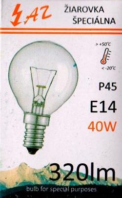 Žárovka AZ-012 iluminační P45 40W E14