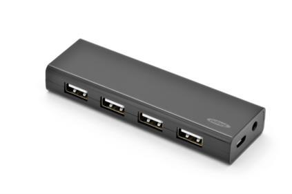 Ednet USB 2.0 HUB, 4 porty, přenos dat až 480Mbps, 5V / 2A adaptér, černý