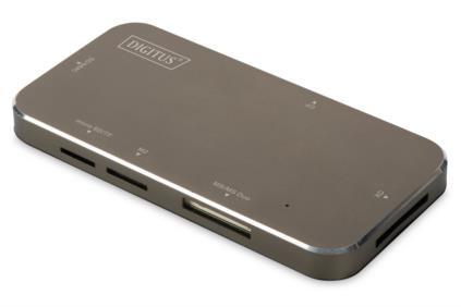 Digitus USB čtečka karet 3,0, 4-Port, podporuje SD, MMC, MS, T-Flash, CF formáty černá / mat