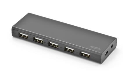 Ednet USB 2.0 HUB, 10-port Přenos dat až 480Mbps, 5V / 3.5A adaptér, černý
