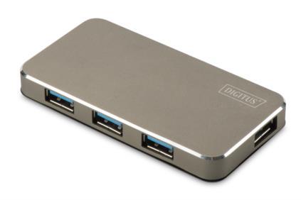 Digitus USB 3.0 Hub 4-Port, vč. 5V / 2A napájení černá / mat