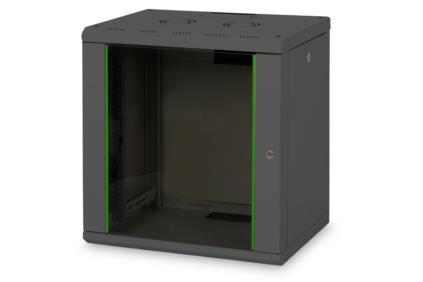 Digitus 12U skříňka montáž na stěnu , 643x600x450 mm, barva černá (RAL 9005)