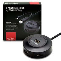 AXAGON 4x USB2.0 cable hub + micro USB OTG BLACK