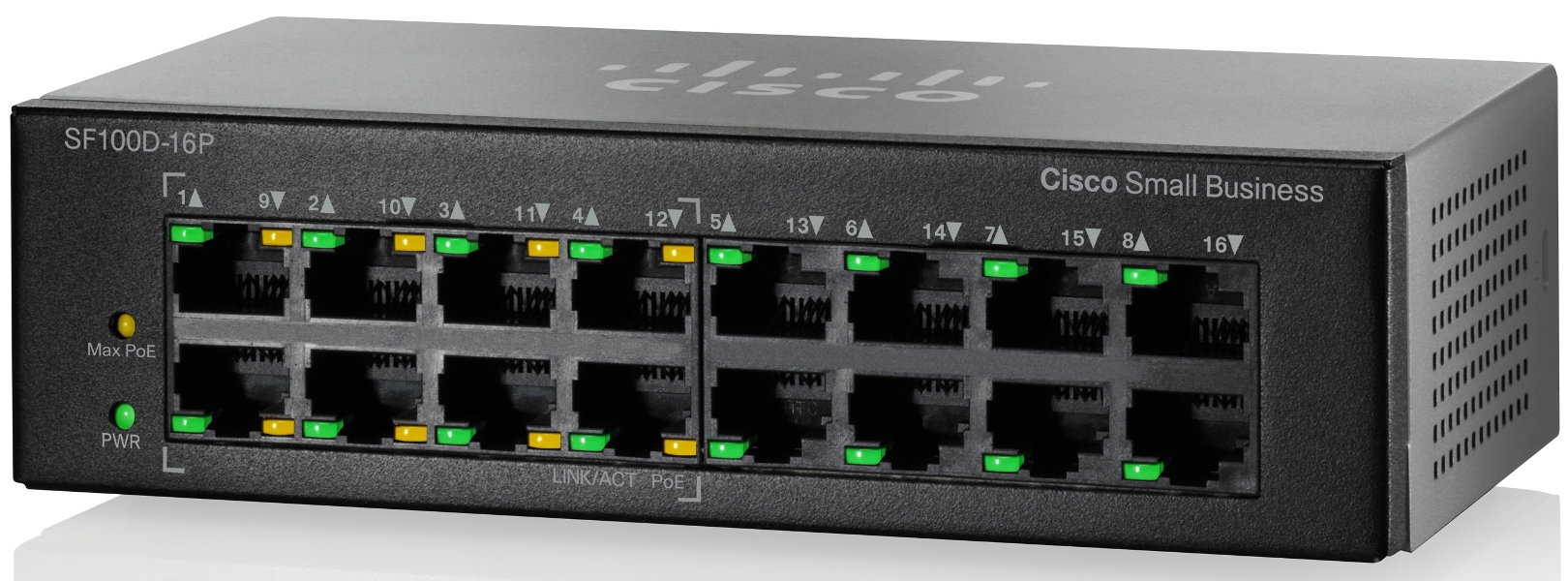 Cisco SF100D-16P, 16x10/100 PoE Desktop Switch