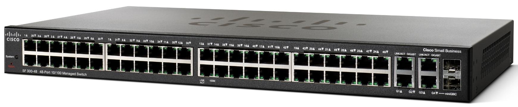 Cisco SRW248G4-K9 SF300-48 48-port 10/100 Managed Switch with Gigabit Uplinks