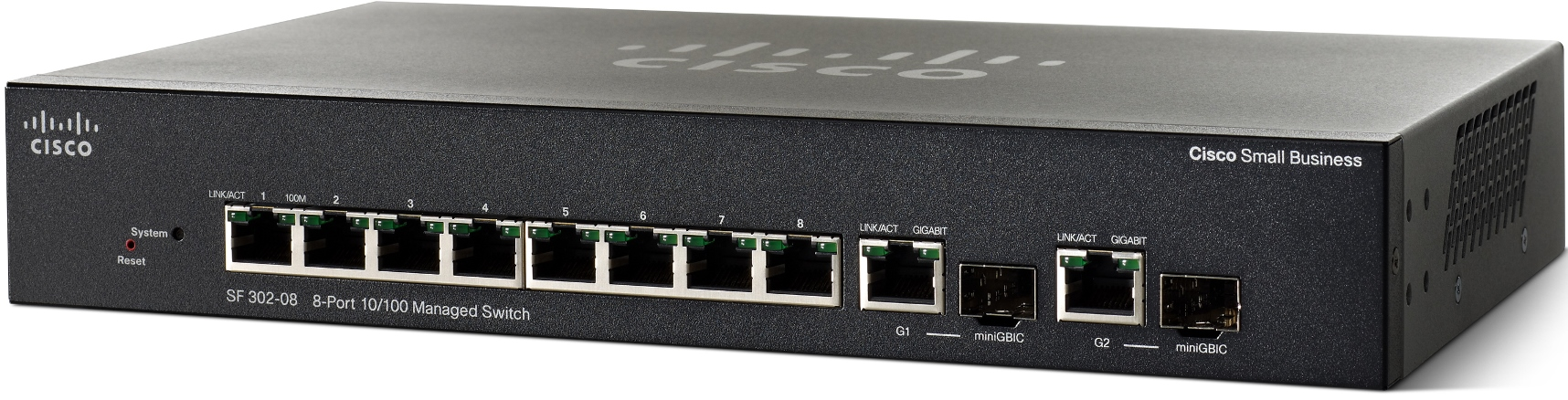Cisco SRW208G-K9 SF302-08 8-port 10/100 Managed Switch with Gigabit Uplinks
